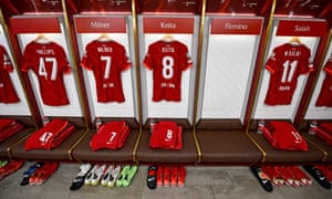 The Liverpool dressing room before the Champions League match against Milan at Anfield.