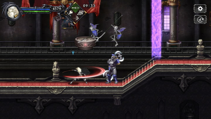 A Belmong slashes a monster in Castlevania: Grimoire of Souls.