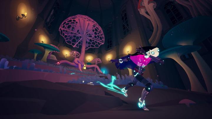 Rei skates past a big mushroom in Solar Ash.