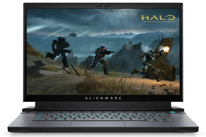 The Alienware m15 R4 gaming laptop with Halo: The Master Chief Collection on the screen.