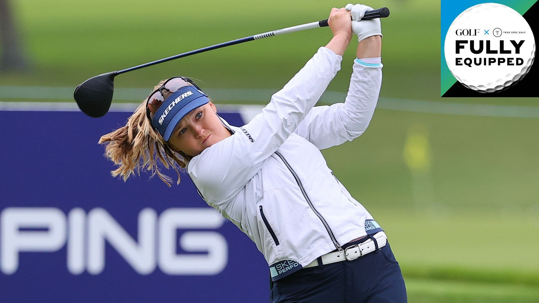 brooke henderson tees off with a 48-inch Ping driver at the Founders Cup
