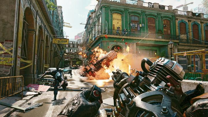 A character shoots a gattling gun in Far Cry 6.