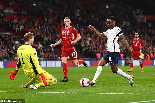 England forward Raheem Sterling had chances to score in either half on Tuesday night