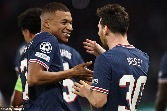 He joked that supporters wanted Kylian Mbappe (left) and Lionel Messi to join, but said the club had to be 'realistic' for the time being