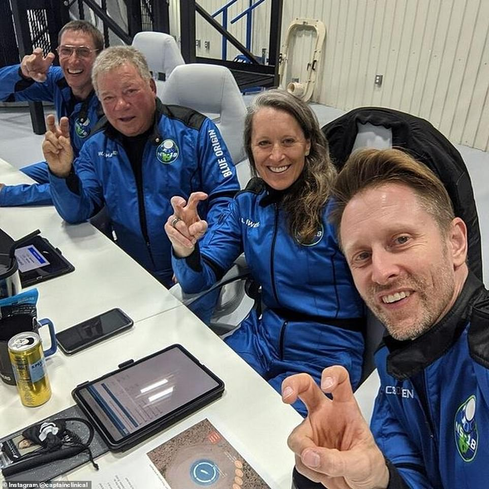 Pictured is the crew on their last day of training Tuesday. They are now gearing up to climb the launch tower and strap in the Blue Origin capsule to launch into space