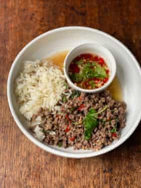 David Thompson's pad kra pao: just fish sauce, sugar and water as seasonings.
