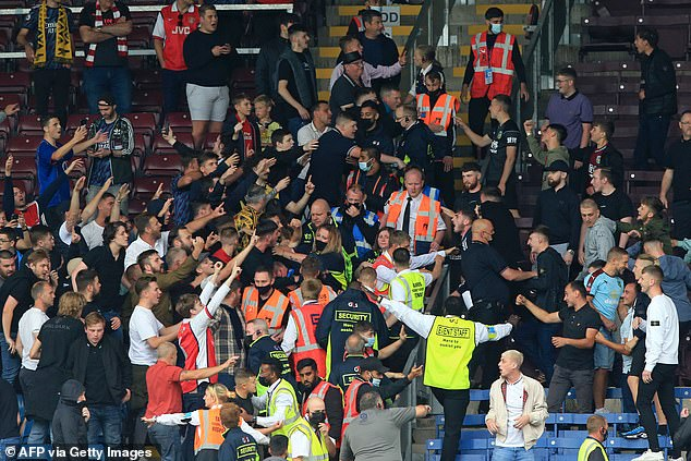 Arsenal fans clashed with their Burnley counterparts at Turf Moor back in September, too