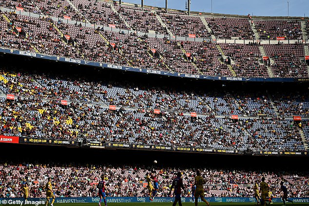 Barcelona want to bring Lingard to the Nou Camp (pictured) on a free transfer in the summer