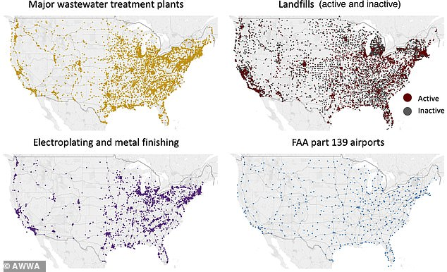 Maps indicating common sites of 'forever chemical' pollution across the US, including landfills, wastewater treatment plants, airports andelectroplating and metal-finishing facilities