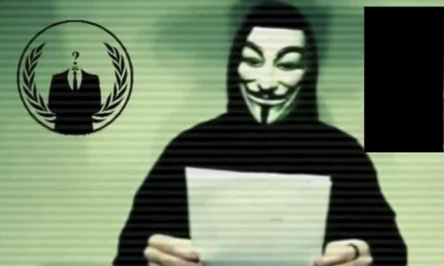 A person from Anonymous, the network of hackers known for cyber-attacks on government, corporate and religious websites.