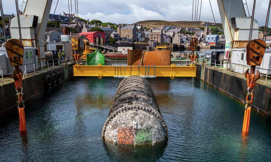 Microsoft's Northern Isles data center being pulled up from the sea bed off Scotland's Orkney Islands.