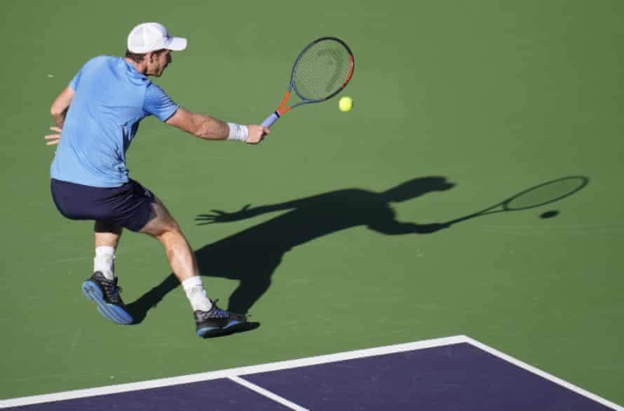 Andy Murray in action during his defeat by Alexander Zverev of Germany at Indian Wells.