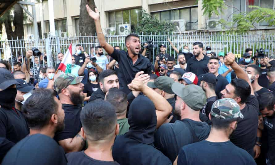 A protest against Tarek Bitar, the lead judge of the port blast investigation, near the Justice Palace in Beirut.