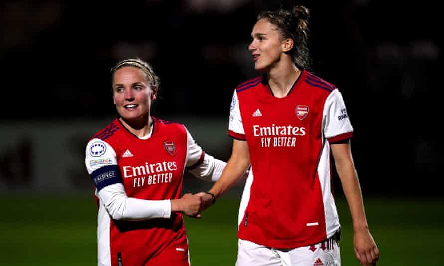 Arsenal's Kim Little (left) and Vivianne Miedema (right) celebrate the latter's goal against Hoffenheim.