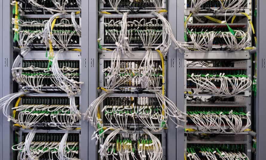 Detail of cable management on a data centre server room