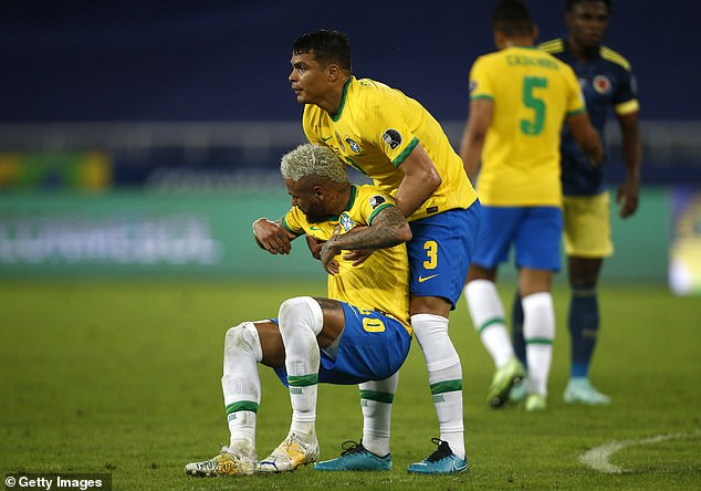 Thiago Silva (right) has given his public support to Neymar after his mental health comments