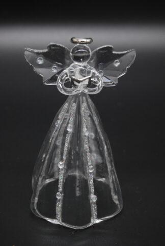 Glazen engel staand met boek 4