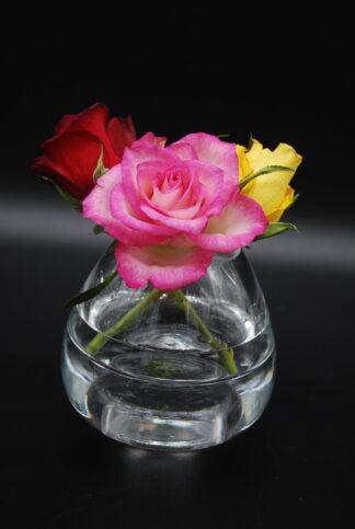 Vaasje en waxinelichthouder ineen van dik glas