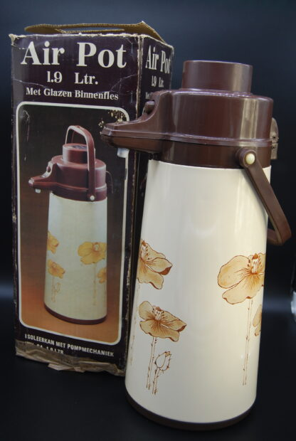 Vintage pompthermoskan beige-bruin