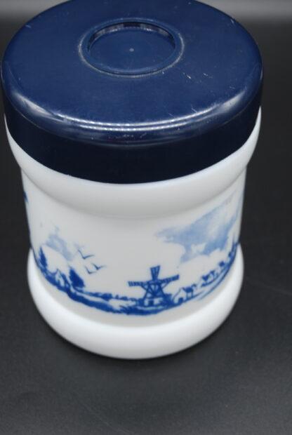 Vintage pot blauw-wit molen en schepen
