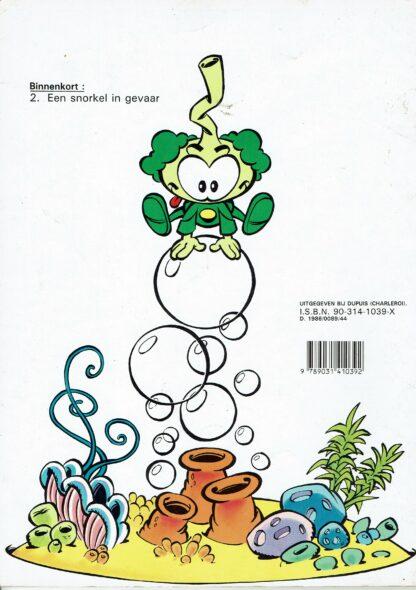 De gele haai (achterkant)-vintage stripboek De snorkels 1986