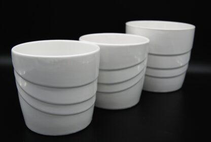 Set van 3 vintage bloempotten wit