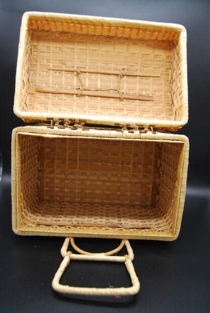 Vintage koffertje gevlochten rotan