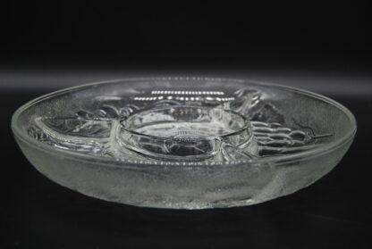 Vintage vakjesschaal glas