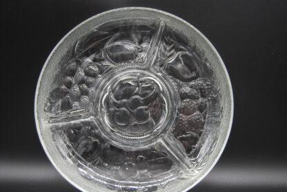 Vintage vakjesschaal reliëfglas