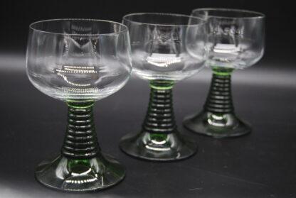 Vintage Roemer wijnglazen met groene voet