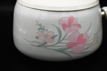 Emaille fonduepan wit met bloemen
