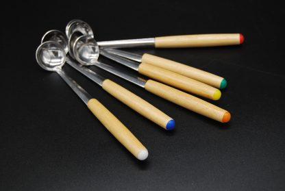 Fondue sauslepels-hout met kleurtjes op de top-6 in een set