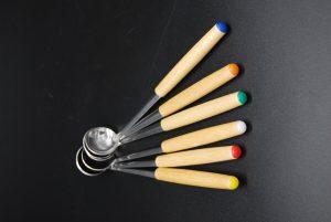 Fondue sauslepels in een set van 6 met kleurtjes