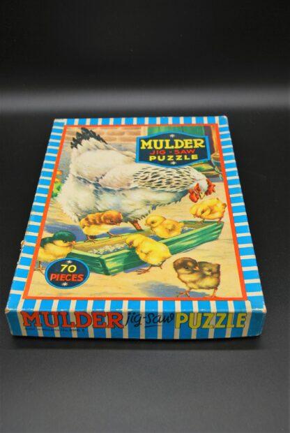 Kip en kuikens vintage legpuzzel Mulder No. 9060B