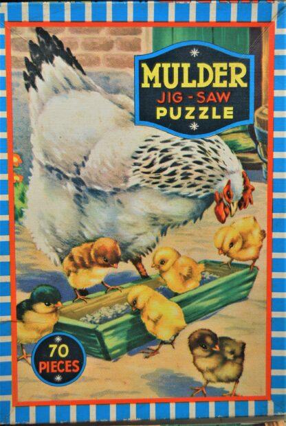 Mulder jigsaw puzzle jaren 60-Kip met kuikentjes