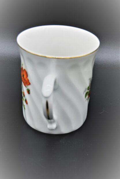 Original Bohemia porselein-Beker geribbeld met bloemen
