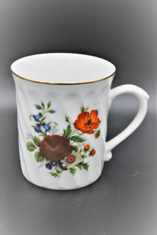 Porseleinen beker geribbeld met bloemen-Original Bohemia
