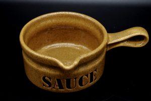 Saus-Jus kom Waechtersbach W.Germany-bruin sandalwood gespikkeld