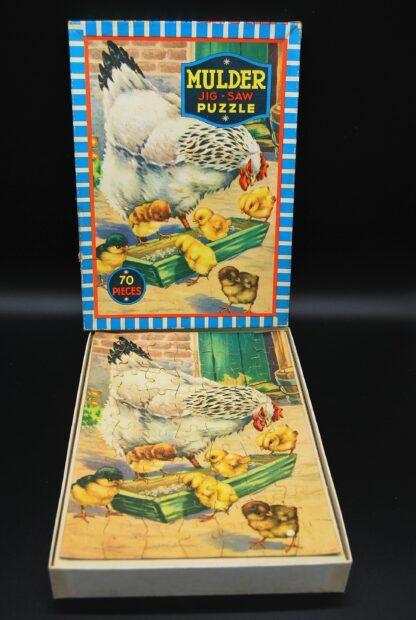 Vintage legpuzzel Mulder No.9060B- Kip met kuikens