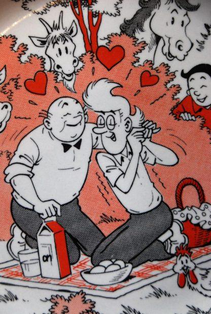 Suske en Wiske ontbijtbordje-Sidonia en Lambik verliefd