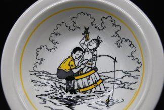 Vintage schaaltje Suske en Wiske 1989-vissen-geel