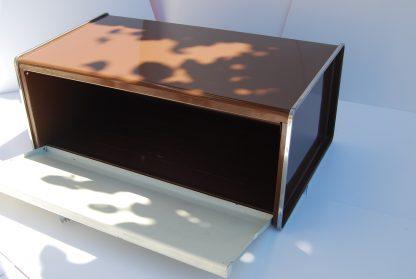 Brabantia broodtrommel met klepdeksel-chocoladebruin met cremekleur en figuur