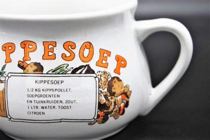 Soepkom met recept kippesoep vintage