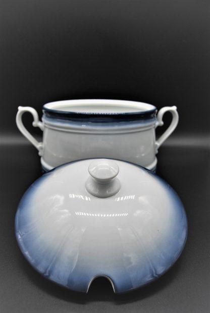 Soepterrine Kronester Bavaria 2 liter wit met blauwe rand