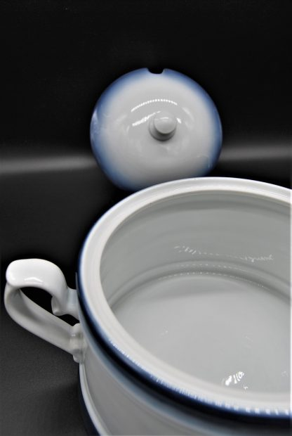 Soepterrine Kronester Bavaria wit met blauwe rand