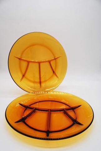 Vintage Duralex Gourmet- of fondueborden amber glas