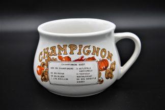Vintage soepkom champignonrecept bruine letters