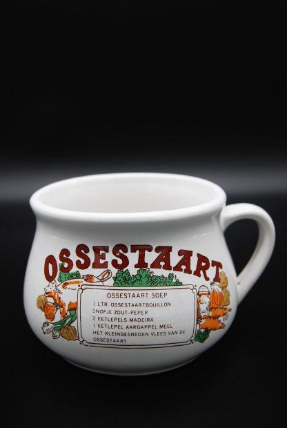 Vintage soepkom met recept ossestaartsoep