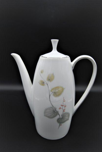Arzberg koffiepot met bladeren grijs en lichtbruin