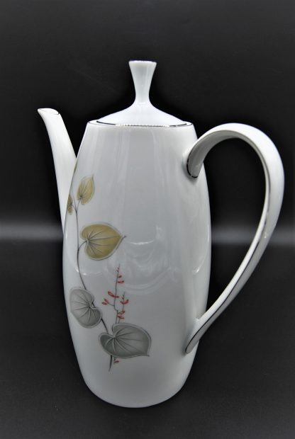 Arzberg koffiepot met grijze en lichtbruine bladeren